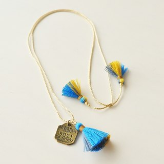 Necklace/3way tassel necklace/blue