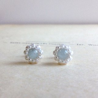 14 kgf small aquamarine and vintage pearl petite flower earrings OR ear clip