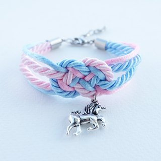 Blue/Pink infinity knot rope bracelet with unicorn charm
