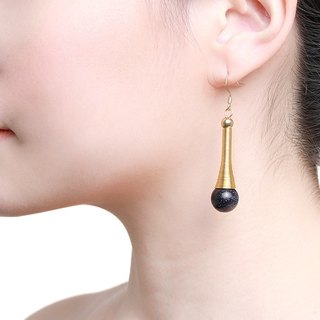 Statement Reina Earrings - Handmade in gold and black stone