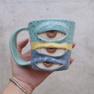 Handmade ceramic mug with 3 eyes in 3 color  :)