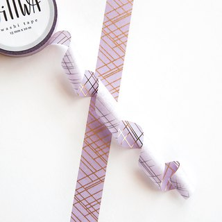 Sophisticated Lines Purple and Gold Foil Washi Tape - Elegant geometric pattern