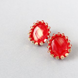 Thread and bead art earrings     RED