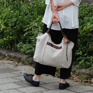 tanton-linen-dark brown linen canvas × leather bag