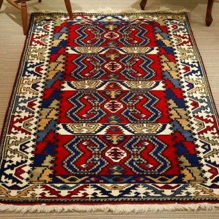 Turkish handmade carpet wool rug traditional design 194×114cm