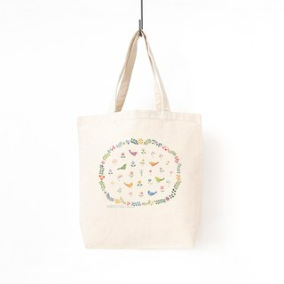 "Together. Tote bag ""secret garden of birds and flowers"" TB - 89"