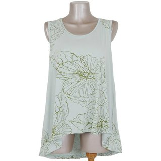 2017 Summer New! Hibiscus print sleeveless tunic <Light Green>