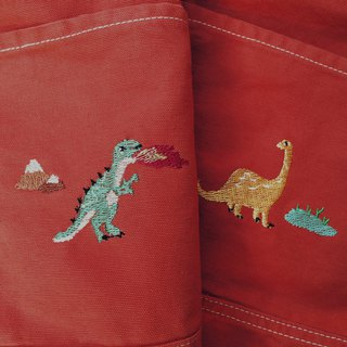 T rex / Bronto Embroidery - Canvas Crossbody Bag: Red