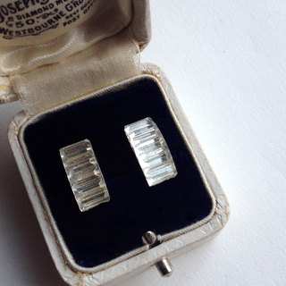 Rectangular vintage glass stone Titanium Earring / Brass Ear Clip/耳針/耳夾
