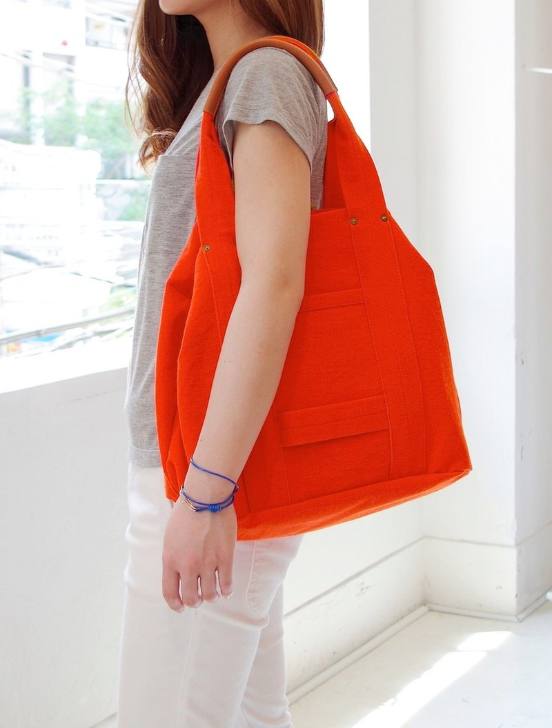 Kurashiki canvas tote bag - 100% orange