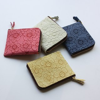 Pigskin's slim mini wallet Flower Yellow