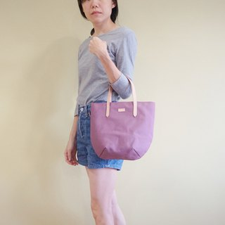 Purple Lilac Petite Canvas Tote Bag with Leather Strap for her - Chic Casual Bag