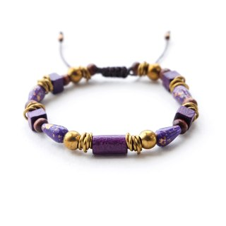 Purple wooden and mixed beads brass materials string bracelet