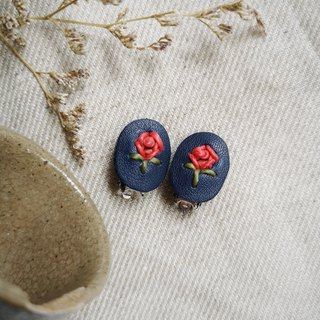 Eco-friendly leather earring/ ear clip with embroidery red rose