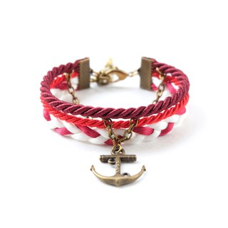 Anchor nautical layered bracelet in crimson / red / white