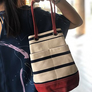 Mini Red Stripe Canvas Bucket Bag with strap /Leather Handles /Daily use