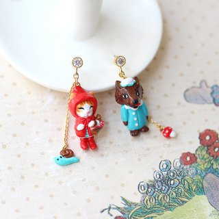 Little red riding hood earrings, Fairy tale earrings, Cat Earrings,Wolf Earrings
