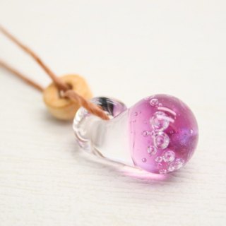 Strawberry pop soda, Pink, Aqua drop of glass pendant
