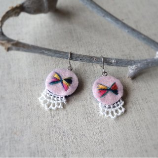 "Hand embroidery pierced earring""ribbon""[order-receiving production]"