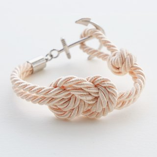 Infinity-knot with nautical hook bracelet in cream