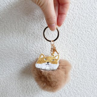 Fur Pom Pom Bag Charm Embroidery Tibetan Snake Fox