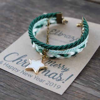 White star layered bracelet in dark green / light mint / white - Christmas