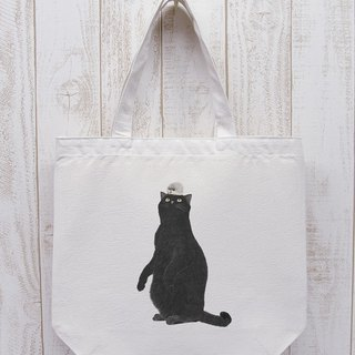 Black cat omikake Tote Hedgehog Natural RIB 019
