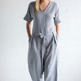 Linen Jumpsuit Motumo – 17K3 / Handmade linen jumpsuit with belt