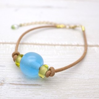 Glow in the dark, Aqua drop of glass bracelet, Sky blue