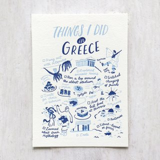 Things I Did in Greece Letterpress Postcard