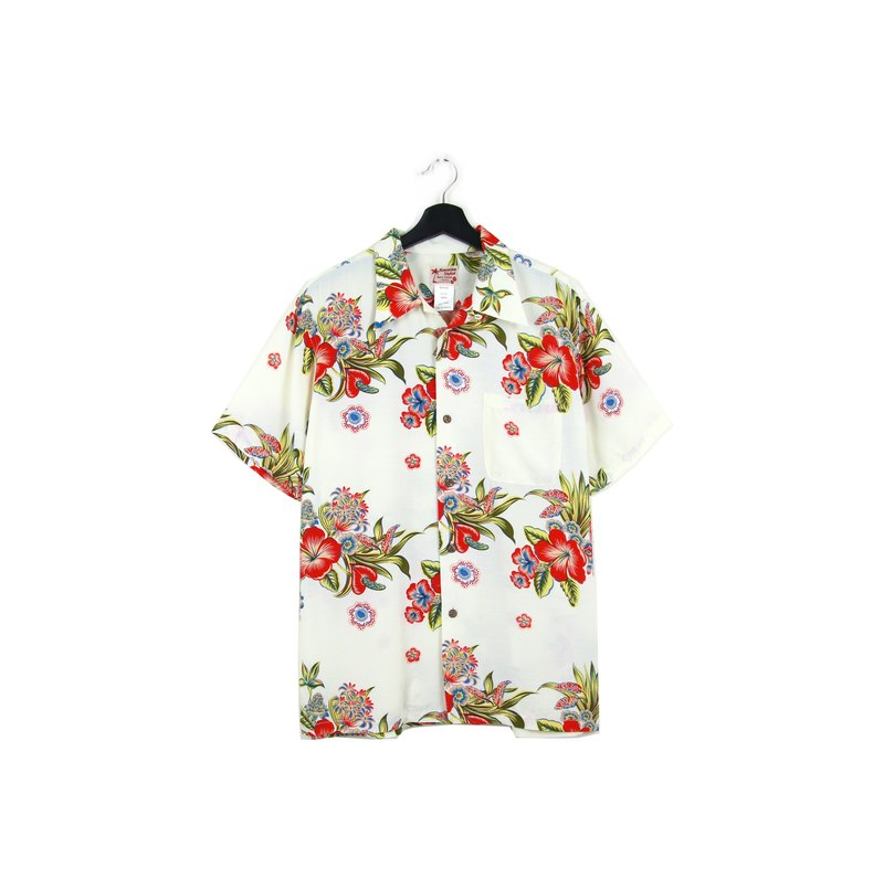 Back to Green:: 瓷器 花卉 //男女皆可穿// vintage Hawaii Shirts (H-46)