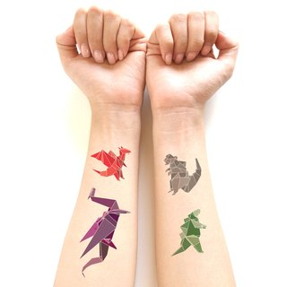 Dinosaur Tattoo sticker set - Origami style