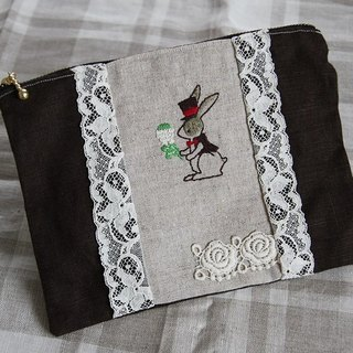 Rabbit and white clover embroidered zipper pouch