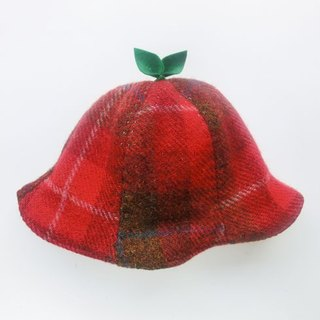 SALE! Grow Up! Wool Leaf Hat with Harris Tweed / Red 46cm
