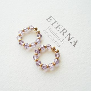 Light color amesist an metal beads, tiny hoop earrings 夾式耳環