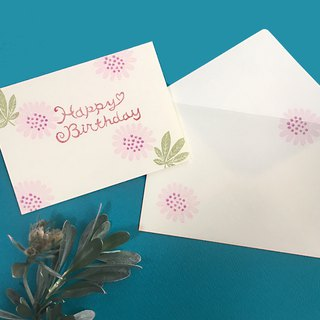 Birthday Card 【Pink flower】with envelope