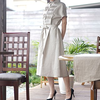 Linen dress pintuck cutaway shirt dress / flaxen a81-2