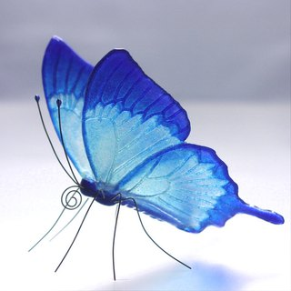 Glass butterfly Happy Blue Ulysses