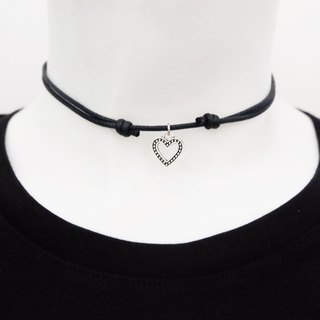 heart adjustable knot cord choker / necklace in black , waxed cotton cord