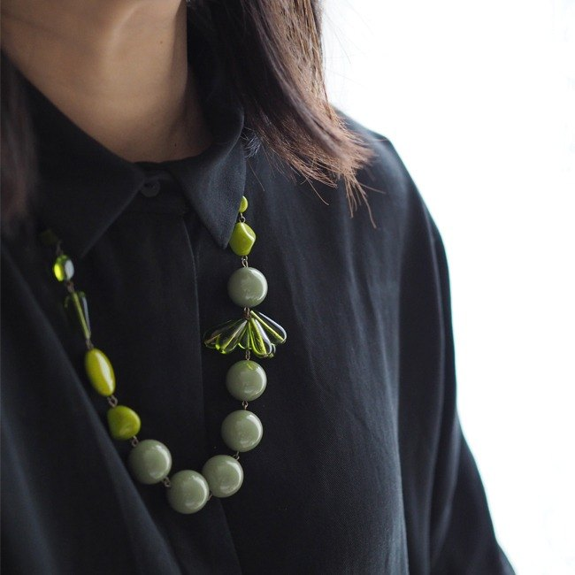 Necklace项链:  The Ormond Necklace  - N068 - glass bead, nugget bead, cat eye, resin bead, olive, green, tear drop, Czech glass,  brass, made to order, handmade, gift 捷克玻璃,橄榄绿,泪珠玻璃,猫眼石,绿色,限量手工,订制,铜链,礼物