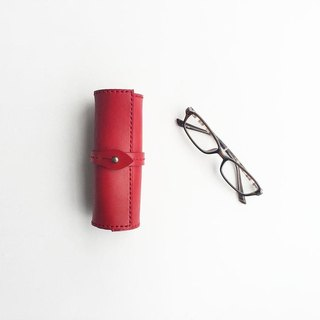 Scroll glasses case red using the Tochigi leather