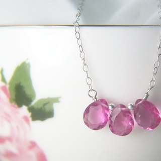 Pink Drop Necklace Beaded Delicate Sterling silver necklace