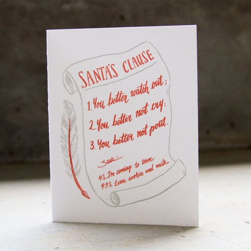 Santa's Clause Letterpress Christmas Card