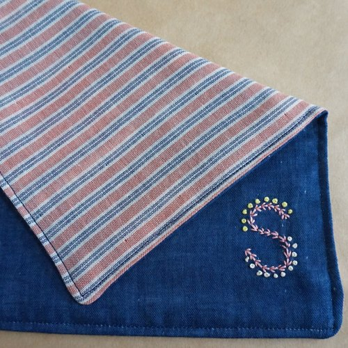 "Hand embroidered quadruple gauze handkerchief  ""initial/S""[order-receiving production]"