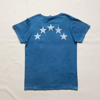 【Order Production】 Indigo dyed Aizen - BLUE STAR TEE