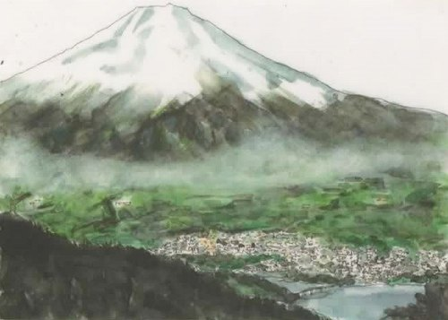 """Watercolor mini Art"" Mount Fuji and Lake Yamanaka"