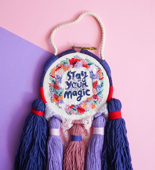 Stay in your magic-hand embroidered wall decor