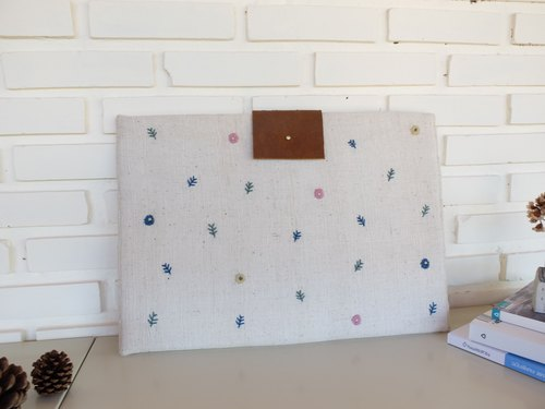 Handmade Macbook sleeve embroidered a little flowers from natural dyes thread on handwoven cotton fabric