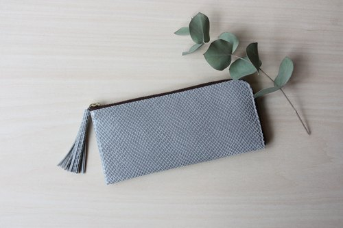 Pigskin slim long wallet L shape light gray