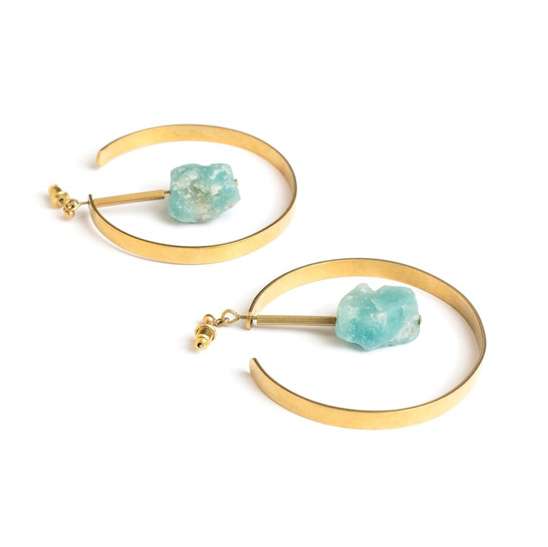 天河石圆弧耳针 Amazonite circle earrings